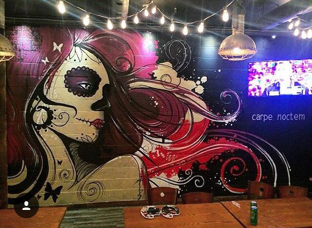 """Sugar Skull"" Wall Mural Painting"