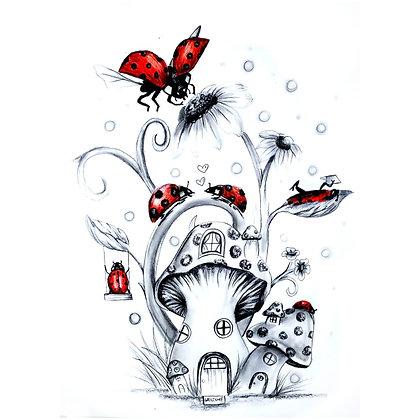 Ladybug Village - HB Pencil Drawing - Video Recording