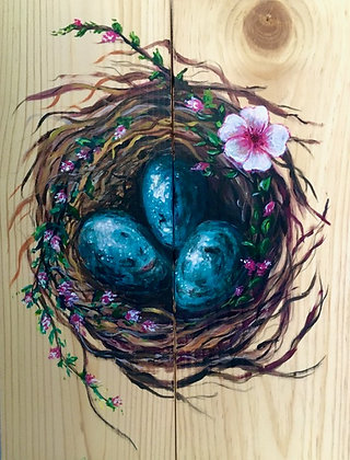 Robin Eggs on Wood or Canvas - Video Recording