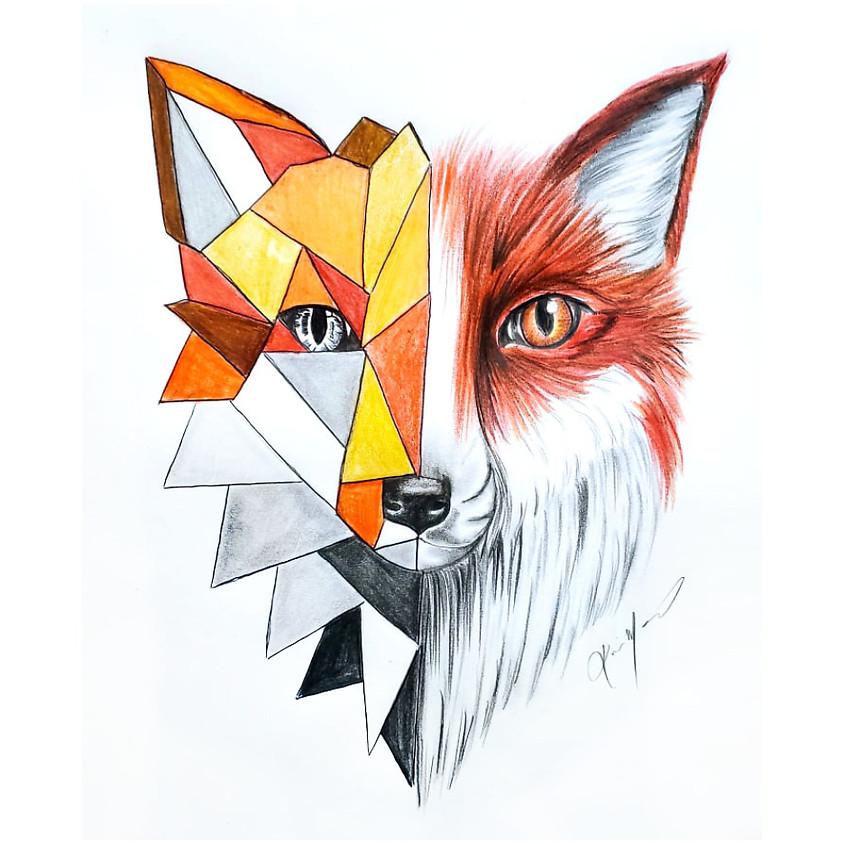 Geometric Fox - Drawing