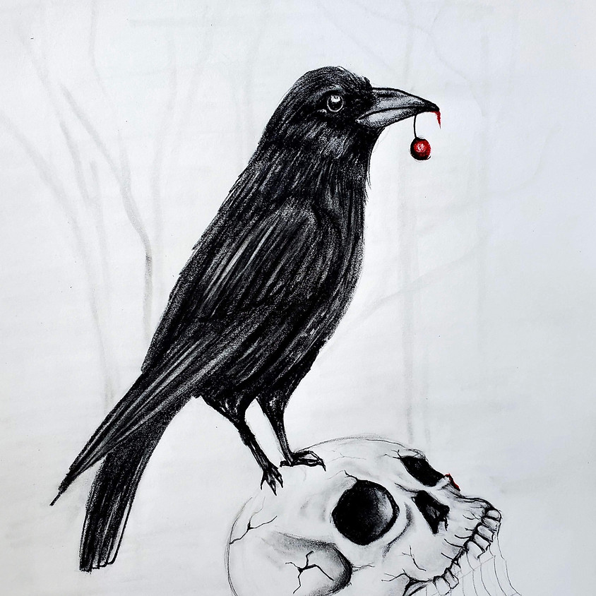 Crow on Skull - HB Pencil Drawing