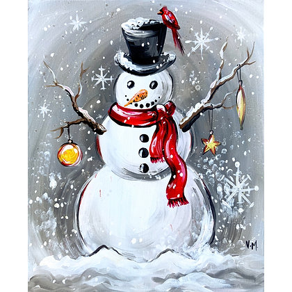 Festive Snowman and his Friend Cardinal - Video Recording