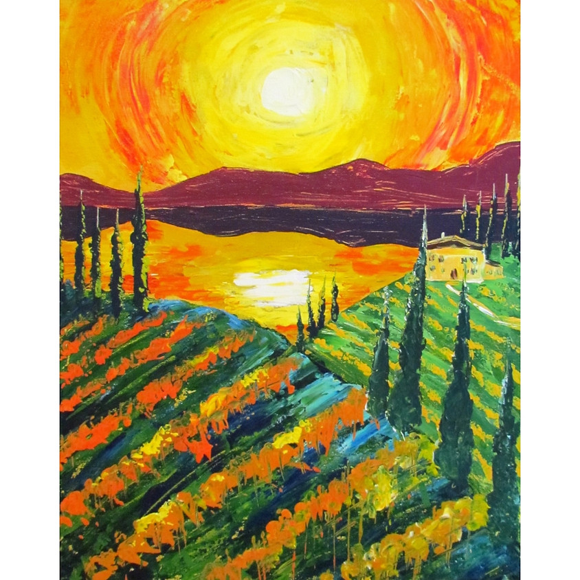 Tuscany in Fall - Palette Knife Painting