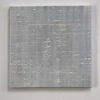 "Gianluca Cosci ""Whitewashing #1"" 2020. Oil on masking tape on canvas.  60 x 60 cm."