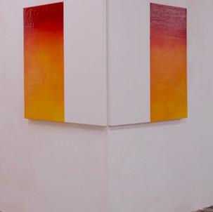 "Gianluca Cosci ""Double Negative"" 2017. Oil on canvas. Two elements 100 x 100 cm each."