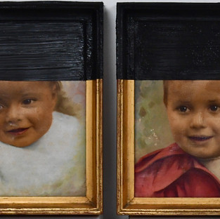 Gianluca Cosci untitled #6 2019. Oil on found painting. Diptych, 28 x 23 cm each