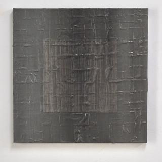 "Gianluca Cosci ""Veiled #1"" 2020. Oil on masking tape on canvas 60 x 60 cm."