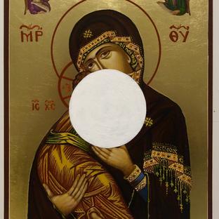 "Gianluca Cosci ""Aniconic Icon (White Circle)"" 2020. Acrylic on painted Orthodox Icon 20 x 25 cm"
