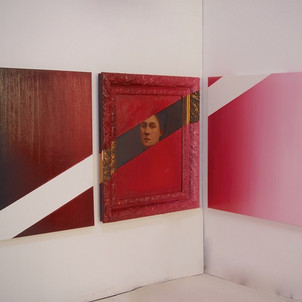 Gianluca Cosci Double Negative #9 2015 Oil on canvas and oil on found painting. Triptych, 80 x 141 x 108 cm