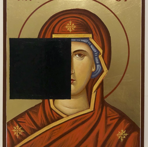 "Gianluca Cosci ""Aniconic Icon (Black Square)"" 2020. Acrylic on painted Orthodox Icon 20 x 25 cm"