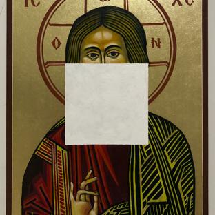"Gianluca Cosci ""Aniconic Icon (White Square)"" 2020. Acrylic on painted Orthodox Icon 20 x 25 cm"