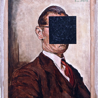 Gianluca Cosci Being Malevich 2014 Oil on found painting 46.5 x 57 cm