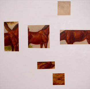 Gianluca Cosci Double Negative #32013 Oil on found painting 80 x 102 cm
