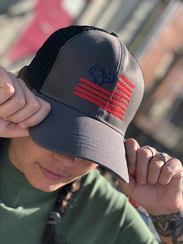 American Flag Logo Trucker Hat
