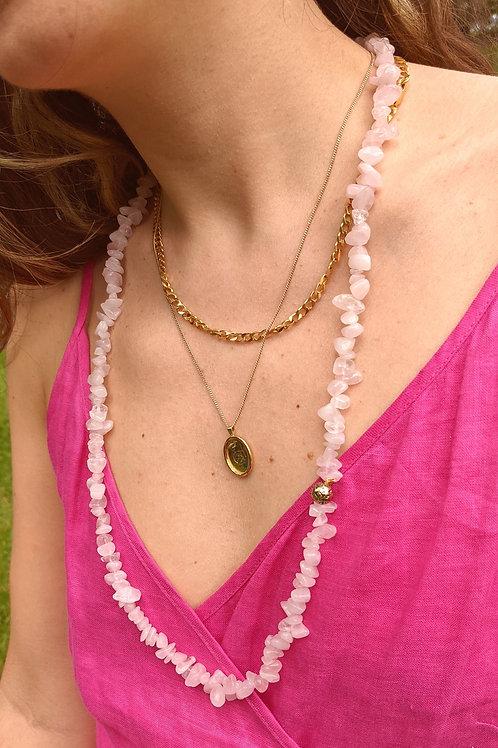 Rose Quartz Garland Necklace