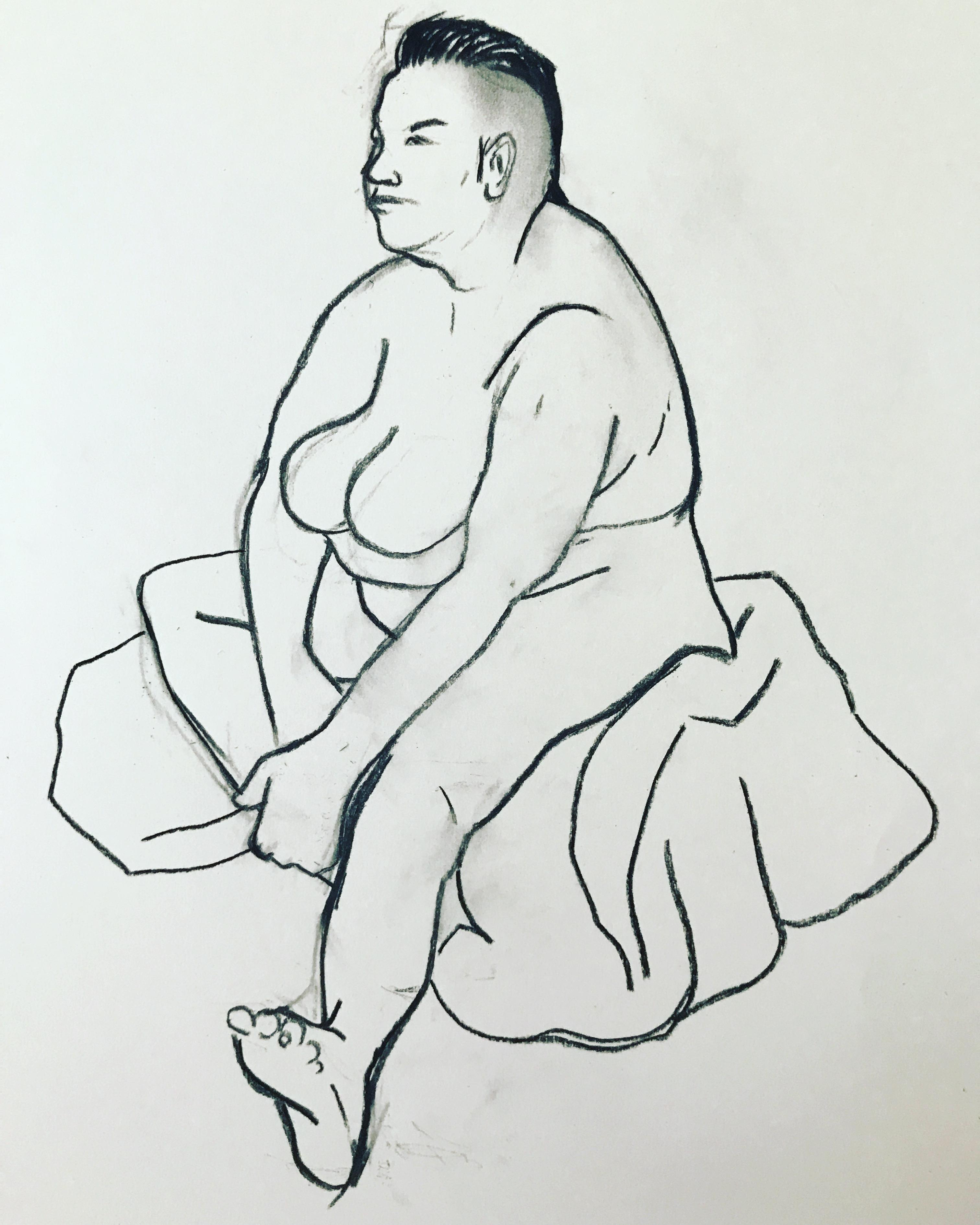 Large sitting leg female nude