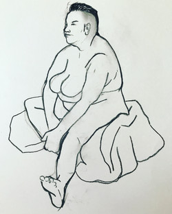 Large sitting leg female nude