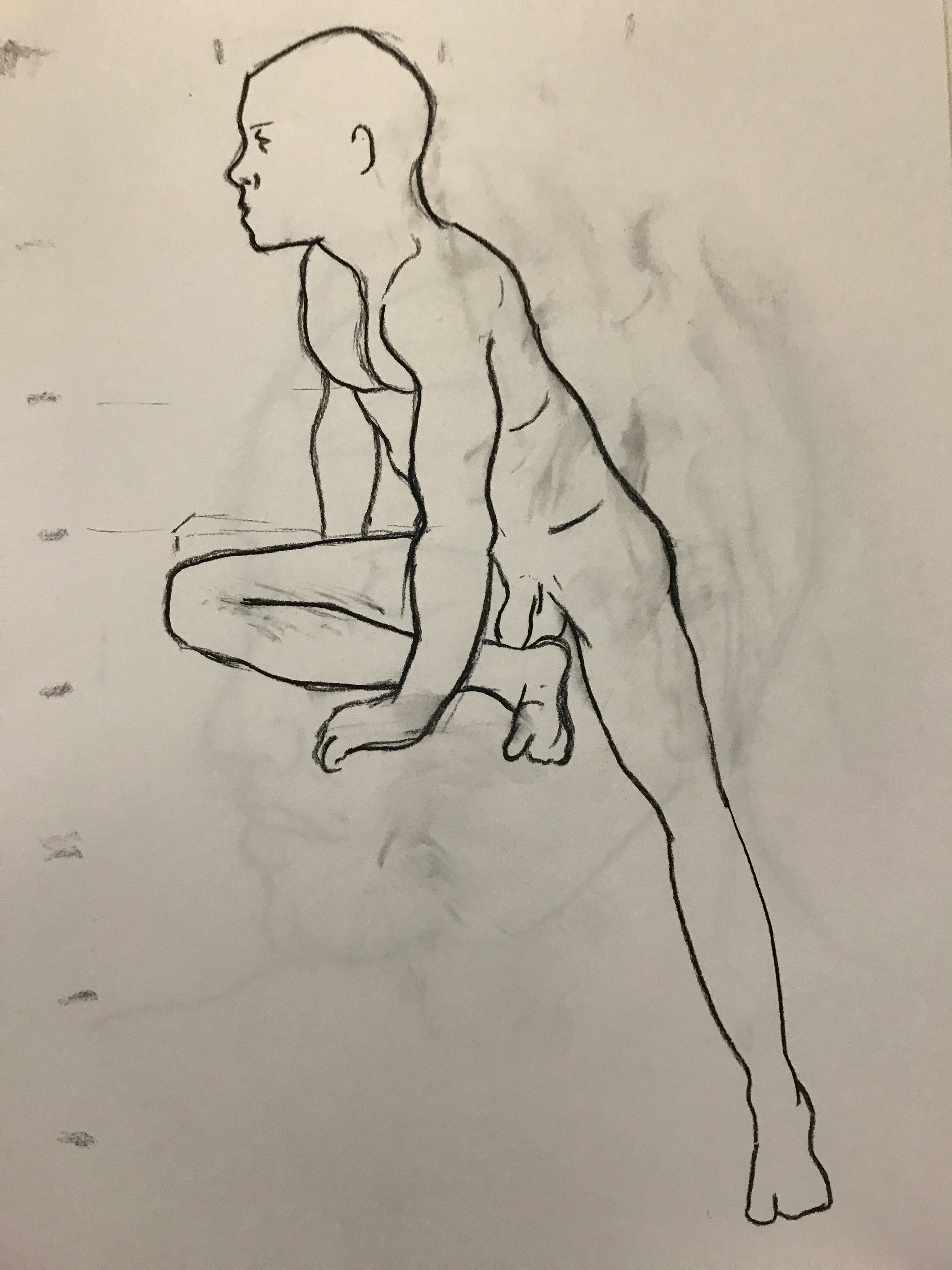 Leg extended crouch