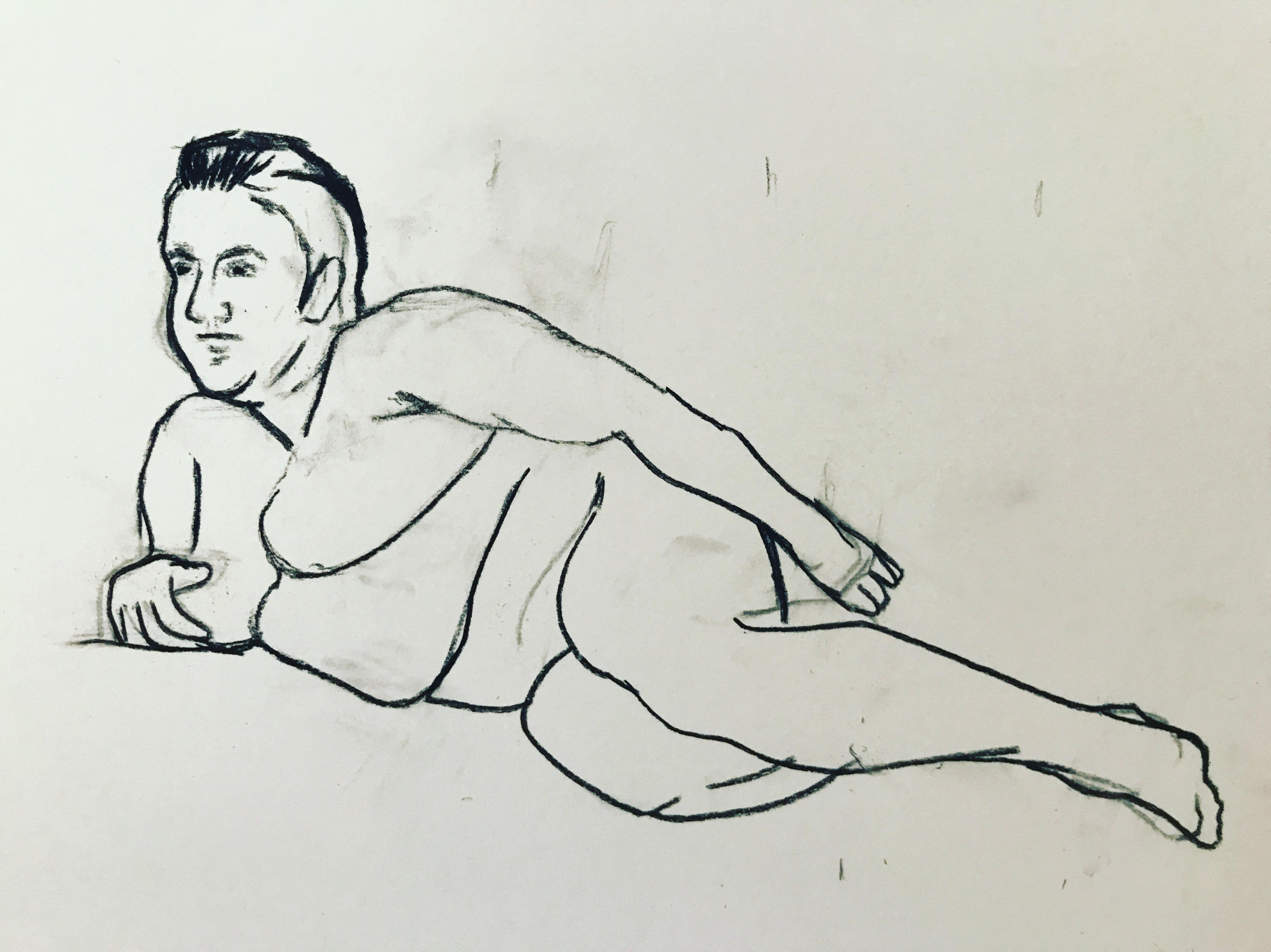 Large leaning female nude