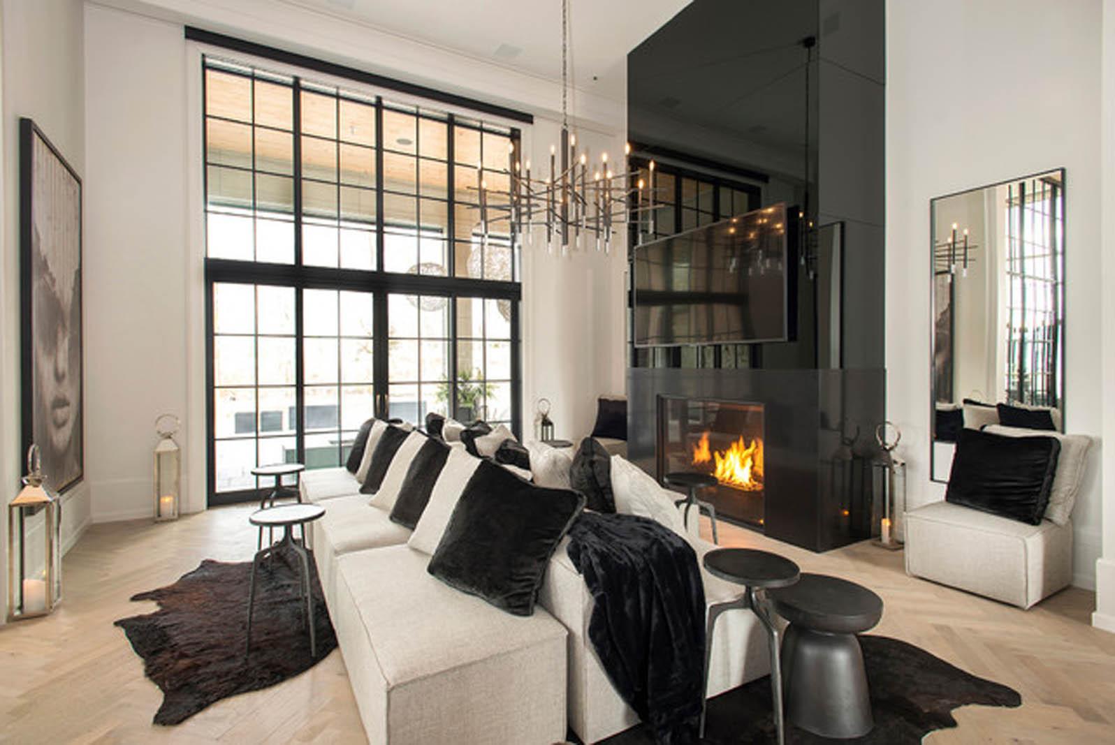 Black Fireplace Mirror
