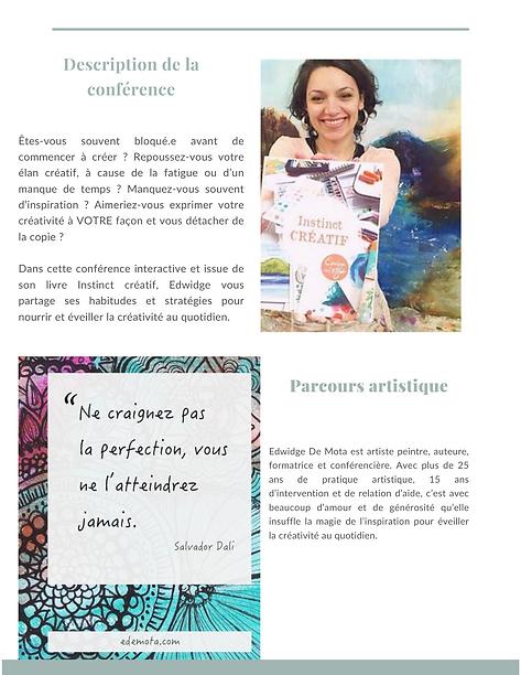 Conférence sur l'art avec Edwidge De Mot