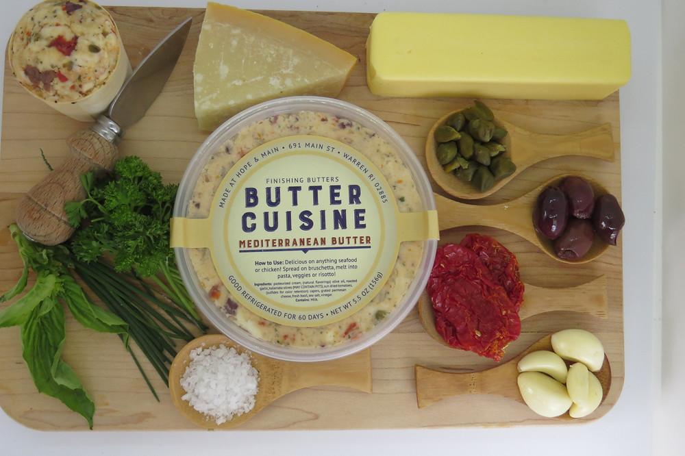 Mediterranean Butter melt on pasta, seafood, meat, veggies, chicken & bruchetta!