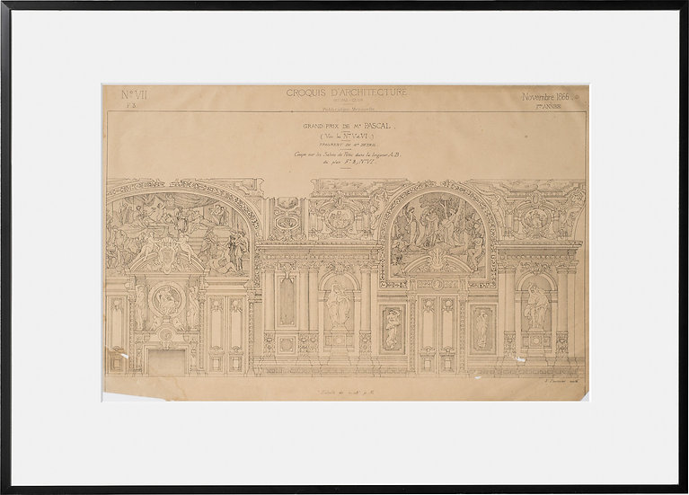 Gravure - Architecture - Décor de salon des fêtes - 1866