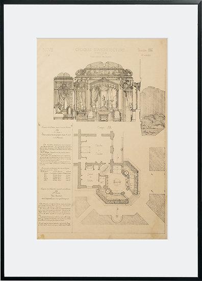 Gravure - Architecture - Boudoir - 1866