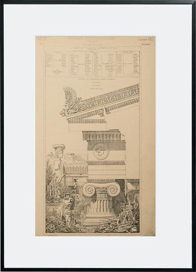 Gravure - Architecture - Ordre Ionique - 1867