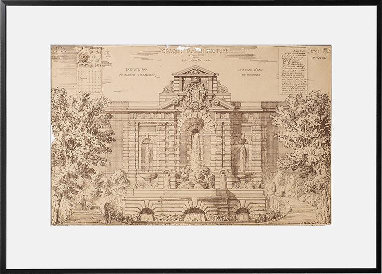 Gravure - Architecture - Château d'Eau de Bourges - 1867