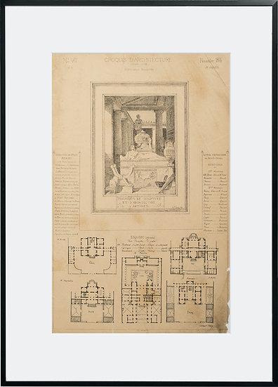 Gravure - Architecture - Fragment de sculpture et d'architecture antique - 1866