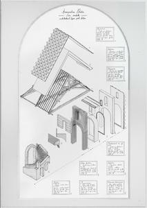 Axonométrie éclatée décomposant pièce par pièce les éléments et les matériaux utilisés dans une conception où l'économie des ressources fossiles est primordiale.