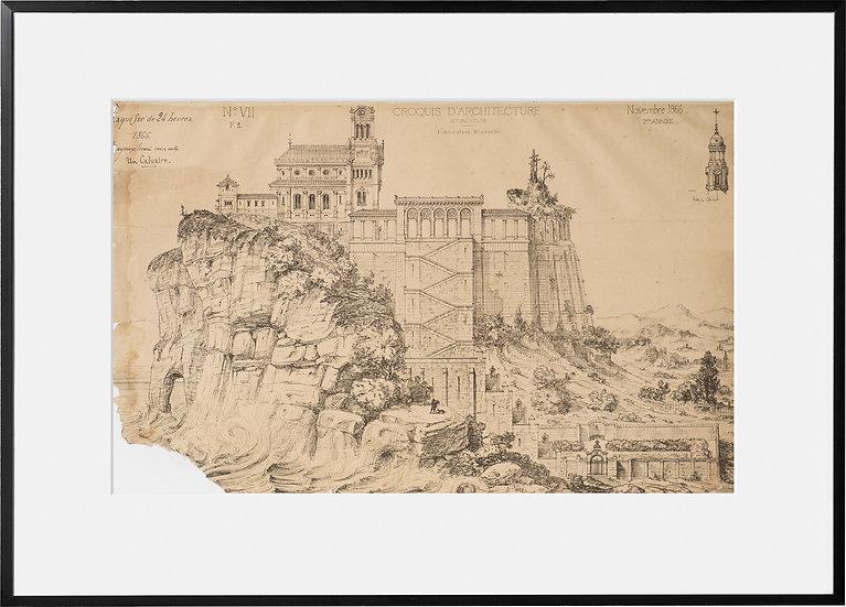 Gravure - Architecture - Calvaire - 1866