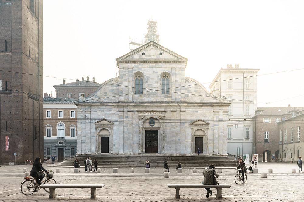 La cathédrale de Turin, marquant l'entrée du centre ville historique