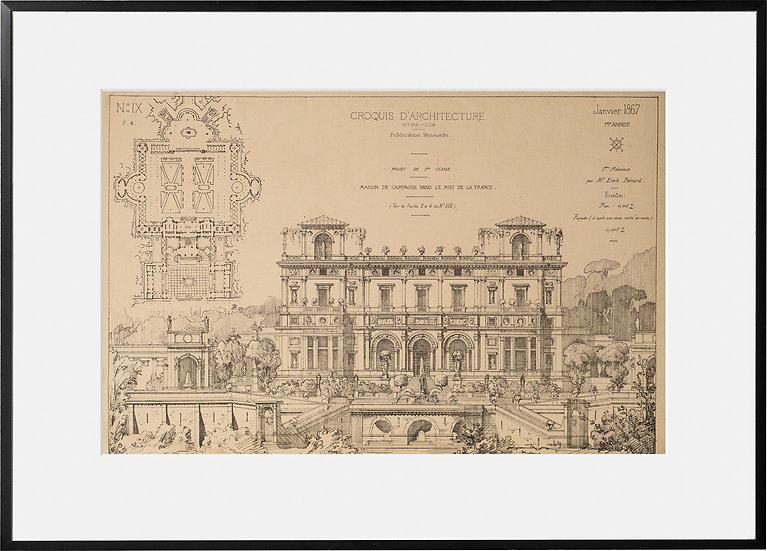 Gravure - Architecture - Maison dans le Midi de la France - 1867
