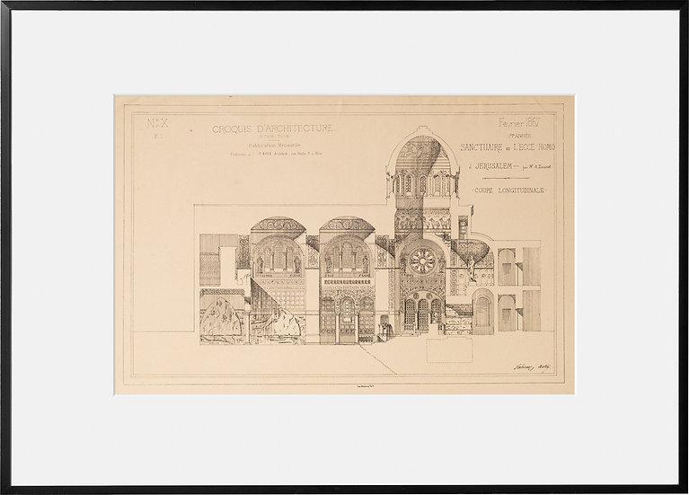 Deux gravures - Architecture - Sanctuaire de Ecce Homo à Jerusalem - 1867