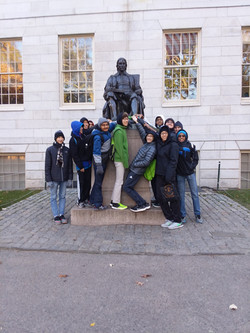 Rubbing the toe at Harvard for good luck