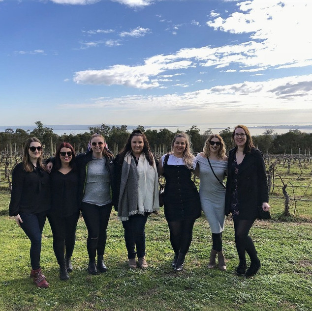 Group in the vineyard