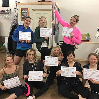 pole party-students with certificates