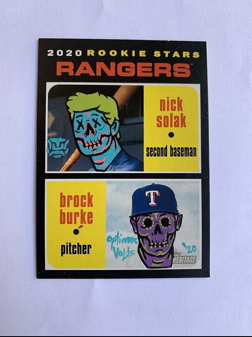Nick Solak & Brock Burke Topps heritage 2020 Texas rangers