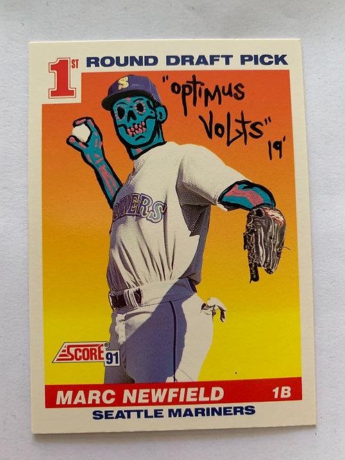 Marc Newfield score 1991 Dia Delos Muertos Baseball card