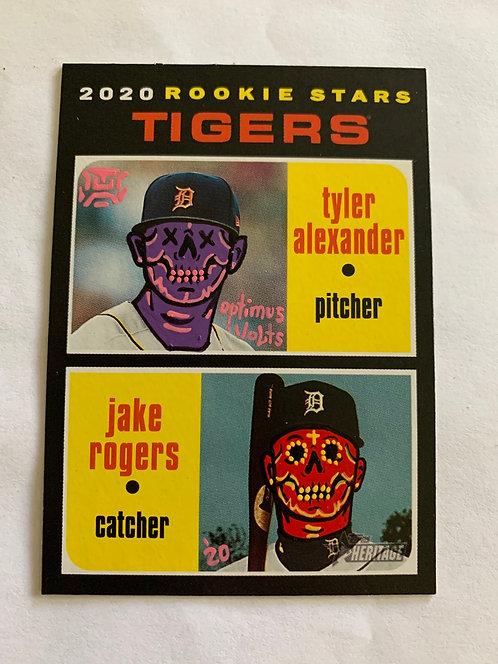 Tyler Alexander & Jake Rogers Topps Heritage 2020 Detroit tigers
