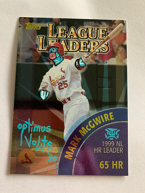 Mark McGwire Topps 2000 League leaders can Griffey Junior back of card