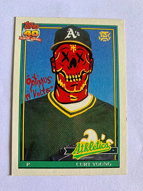 Curt Young Topps 1991 Oakland Athletics