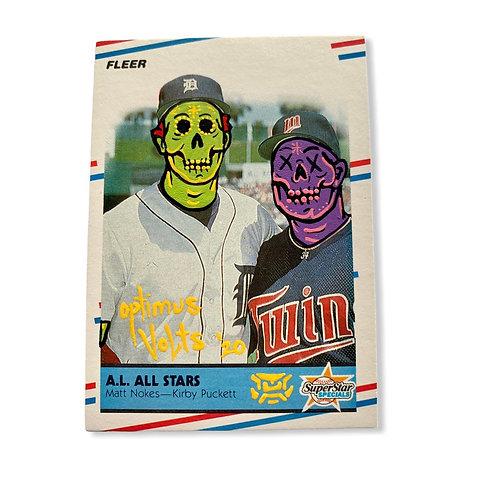 Kirby Puckett & Matt Nokes Fleer 1988 Minnesota twins Detroit Tigers