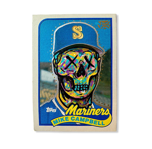 Abstract face Mike Campbell Topps 1989 Seattle Mariners