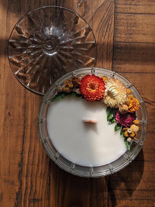 Fall Crystal Candle Bowl * pumpkin & persimmon