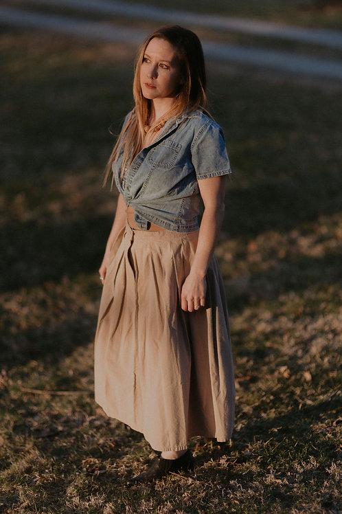 Vintage Sand Pleated Skirt