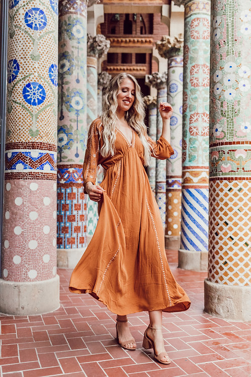 Flowing Embroidered Maxi Dress