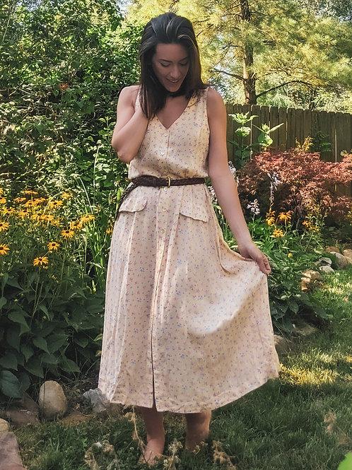 Little Yellow Vintage Floral Dress